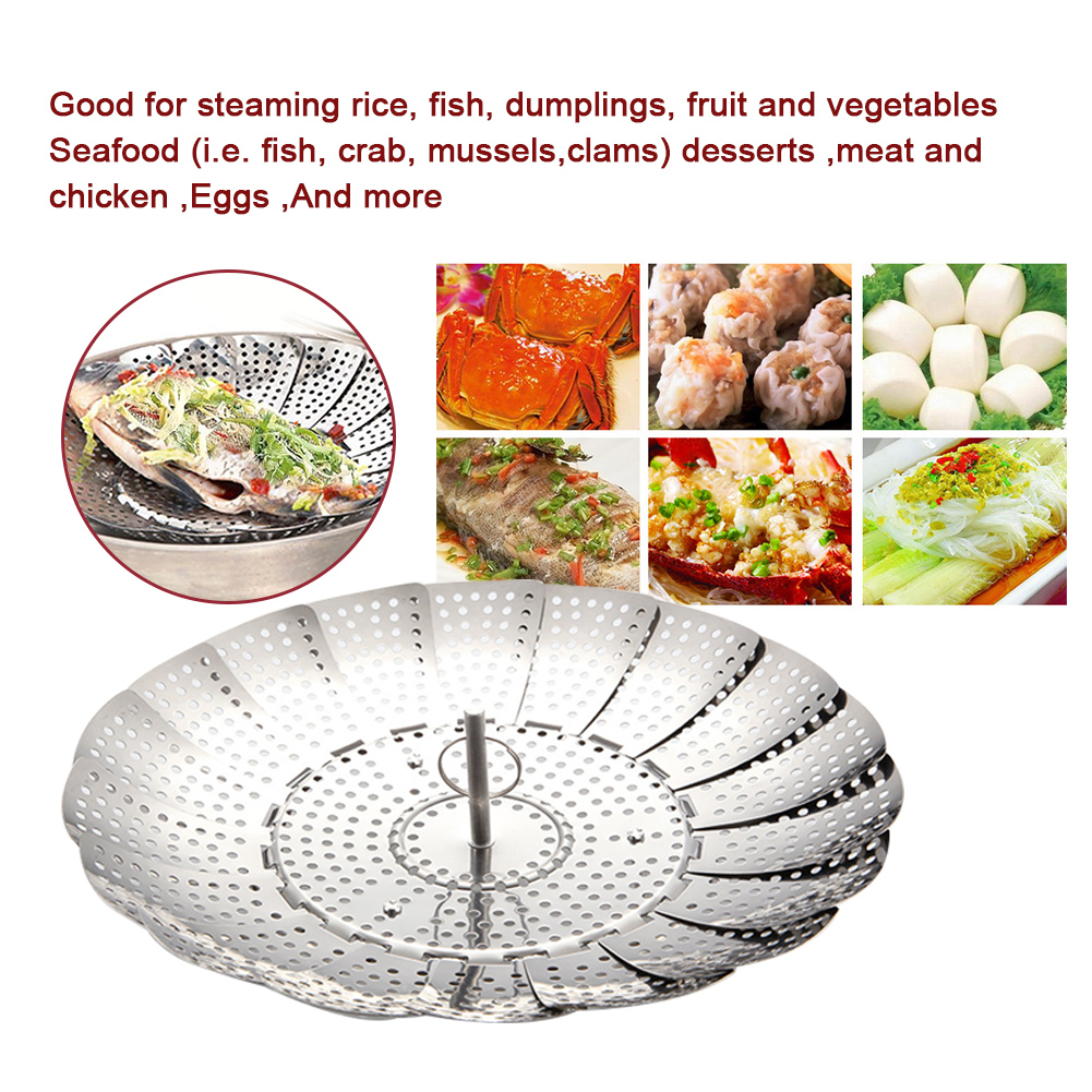 Vegetable Stainless Steel Mesh Folding Collapsible Cooker Expandable Strainer Food Steamer Basket