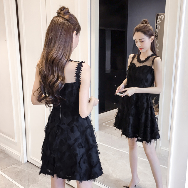New Fashion Ladies Feather Tassel Embroidered Lace Vest Dress Fashion Sexy Temperament Girl Party Casual Beach Dress 3