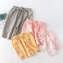 Шорты для пар пижама из тонкой ткани Лето хлопок двойной марлевые печати домашние штаны для сна для мужчин и женщин