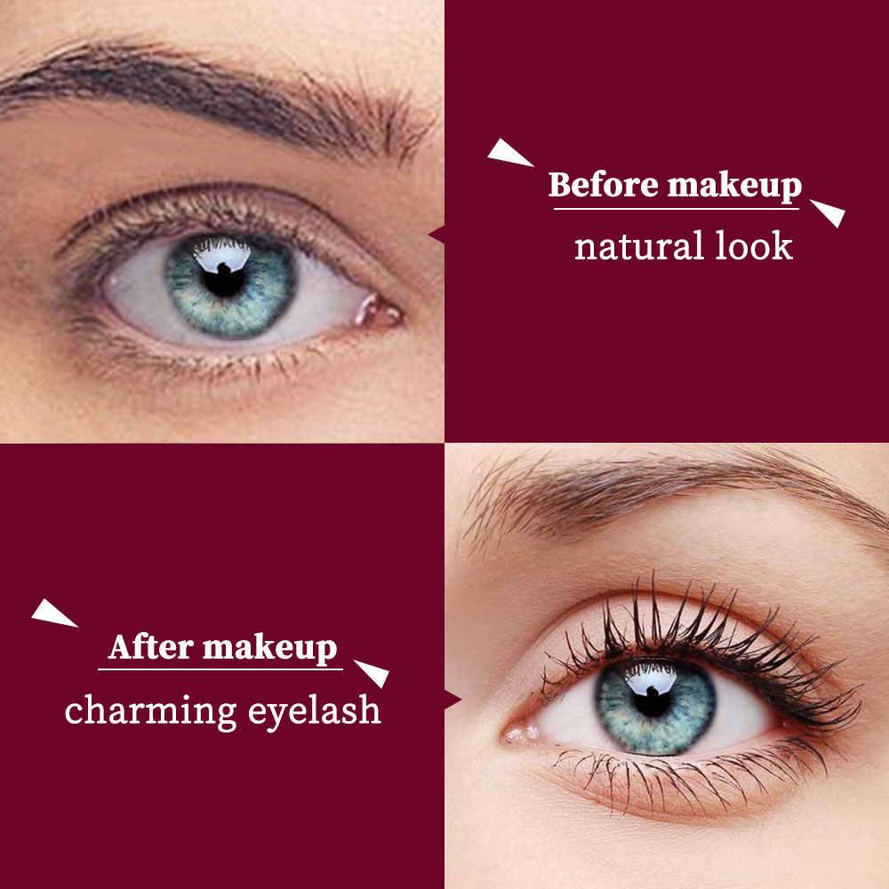 مزدوجة رئيس 4D الحرير الألياف مسكرة رموش العين للماء العين لاش المغذيات نمو السائل الأسود الأبيض سميكة إطالة لا تزهر