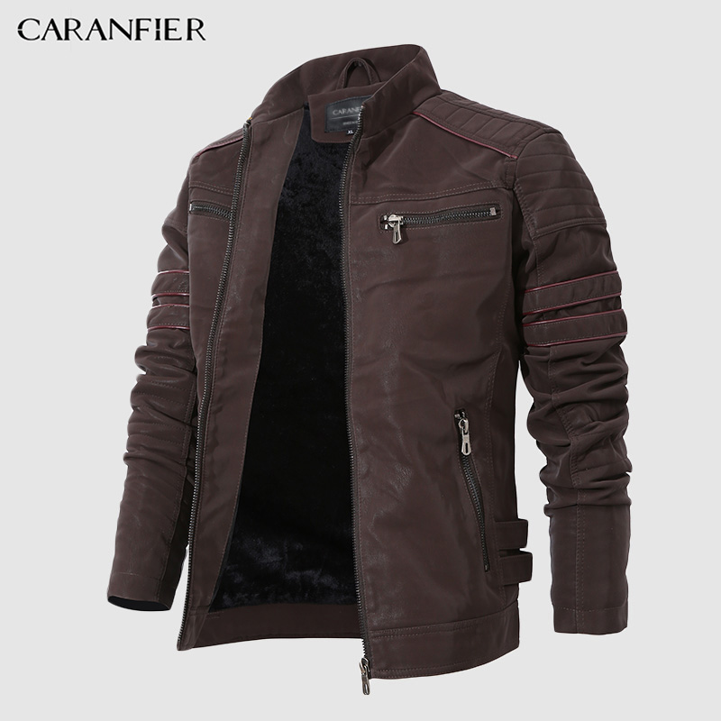 CARANFIER Jacket Coats Stand Collar Velour Motorcycle Retro Winter Mens Fashion Washed