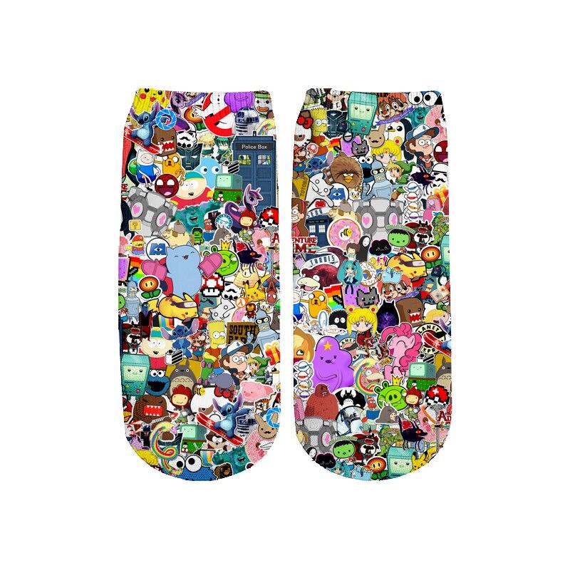 Newest Funny 3D Printed Cartoon Cute Short Ankle Socks For Men Women Harajuku Korean Socks  RS-014