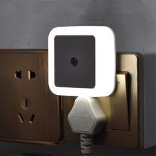 Goodland luz nocturna LED con sensor de control, lámpara de noche con sensor LED de ahorro de energía, lámpara con enchufe de europeo y americano