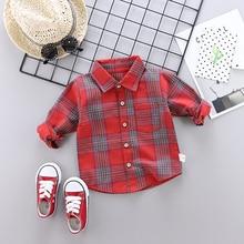 Весенне-Осенняя детская рубашка в клетку блузки из хлопка с длинными рукавами Повседневные рубашки одежда для детей от 1 до 4 лет, рубашка для мальчиков и девочек, одежда