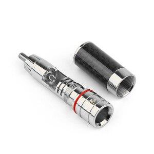 Image 2 - 4PCS Audio Jack  RCA Plug Connector Solder Wire Splice Adapter DIY Audiophile Eutectic Carbon Fiber Speaker RCA Male Plug