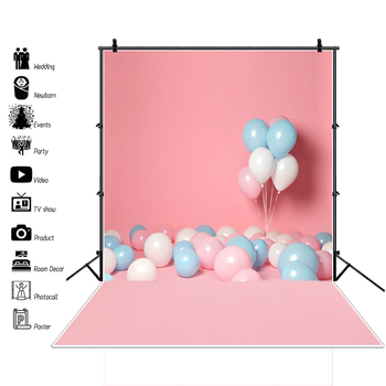 Laeacco Photography Backdrops Pink Baby Birthday Party Balloons Child Family Portrait Photographic Backgrounds For Photo Studio laeacco pink unicorn birthday party star baby poster portrait photographic backgrounds photo backdrops photocall photo studio