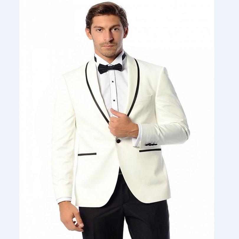 Custom Made Men Suits Groomsmen Shawl Lapel One Buttons Groom Tuxedos Jacket Men Suits Dinner Formal Blazers (Jacket+Pants)