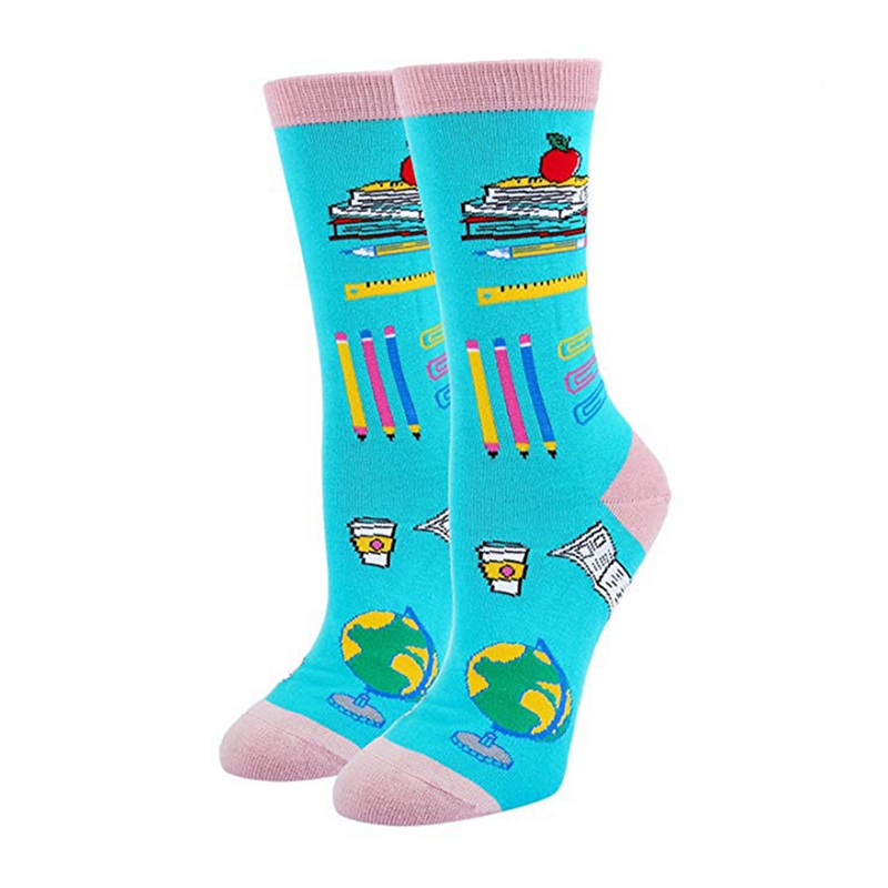 Cute Casual Cartoon Printed Festival Socks Durable Cotton Spandex Hosiery Multipurpose School Football Basketball Sport