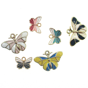 10pcs Trendy Butterfly Pendants Colourful Enamel Butterfly Charms Small Animal Earrings Findings DIY Jewelry Accessories XL650 image