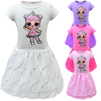 2019 Girl Lol Princess Birthday Party Mesh Kids Dresses for Girls Dolls Toddler Tutu Dress  Summer Dress Lol Clothes