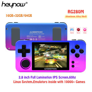 HEYNOW RG280M Retro Game Console 2.8 inch IPS Screen Metal Shell Linux System PS1 Arcade 3D Games Handheld Game Player VS RK2020