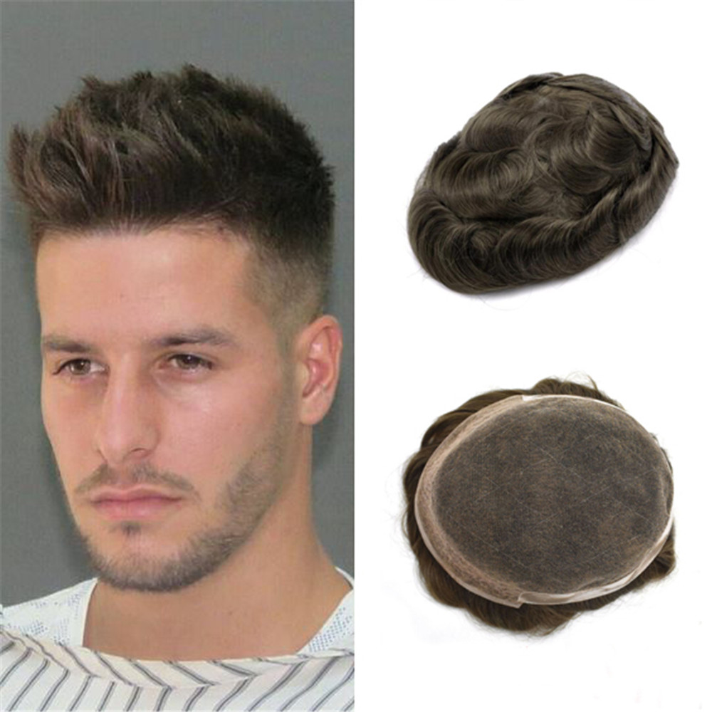 BYMC Mens Toupee 6inch Remy Indian Hair French Lace With PU Wig Replacement System Human Hairpieces Toupee For Men