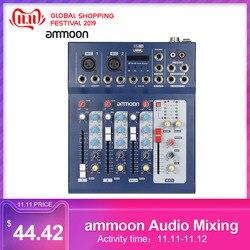 Ammoon F4-USB 3 canal digital mic linha de mistura áudio mixer console com 48 v energia fantasma para gravação dj música mixer áudio