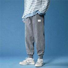 2021 novas calças streetwear corredores primavera moda tornozelo comprimento harem hip hop calças casuais veludo folgado calças dos homens