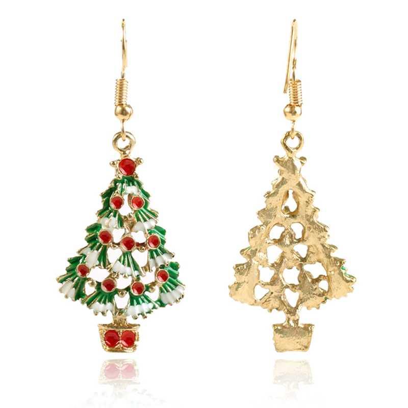 Natal Anting-Anting Paduan Seng Festival Ornamen 1 Pasang Pohon Natal Anting-Anting untuk Wanita Metal Stud Anting-Anting Fashion Perhiasan Hadiah