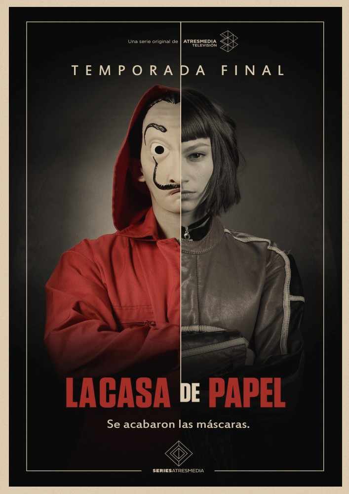 Image 5 - La Casa De Papel Money Heist Posters Retro kraft paper art Wall home Decoration Movie poster-in Wall Stickers from Home & Garden