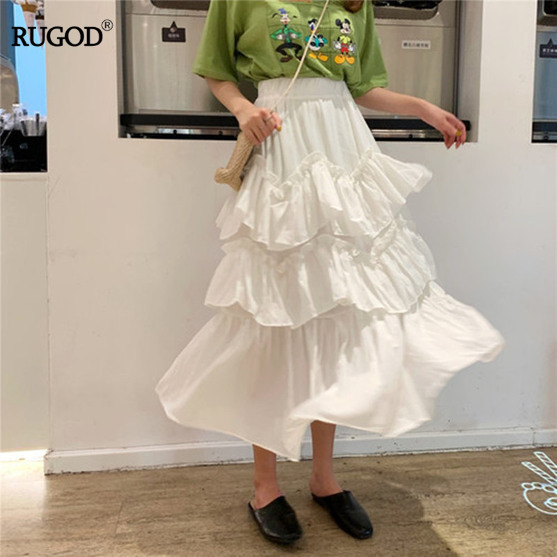 RUGOD 2019 Spring Summer Women Solid Ruffles Skirt Empire Waist A-line Loose Fairy Long Skirt Smooth Casual Modis юбка