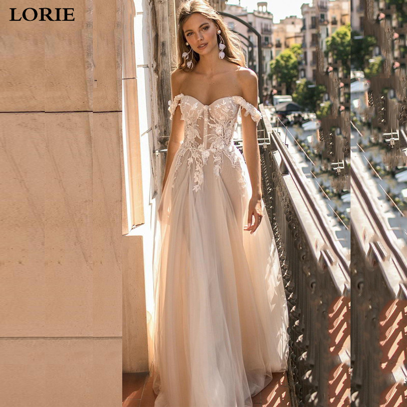 LORIE Boho Wedding Dresses 2019 Off The Shoulder Appliques A Line Bride Dress Princess Robe De Mariee Wedding Gown