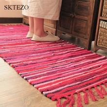 SKTEZO Northern Europe Cotton Linen Kitchen Mats Bathroom Doormat Absorbent Rug Hand-woven Tassel Carpet On The Floor 2018 New