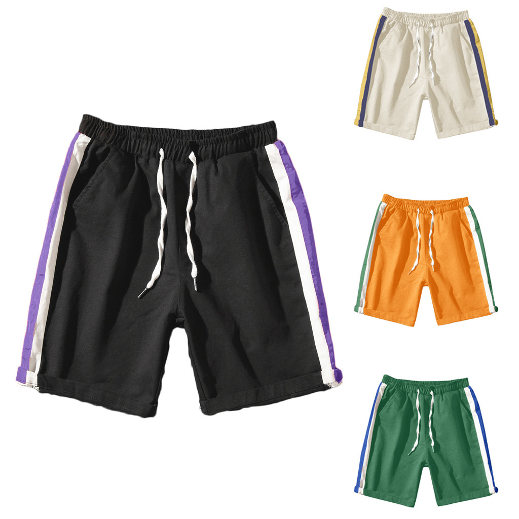 Rainbow Striped Shorts Men High Quality  Shorts 2019 New Arrived Summer Style Camo 100% Cotto  Pathwork Short Free Shipping 12.4