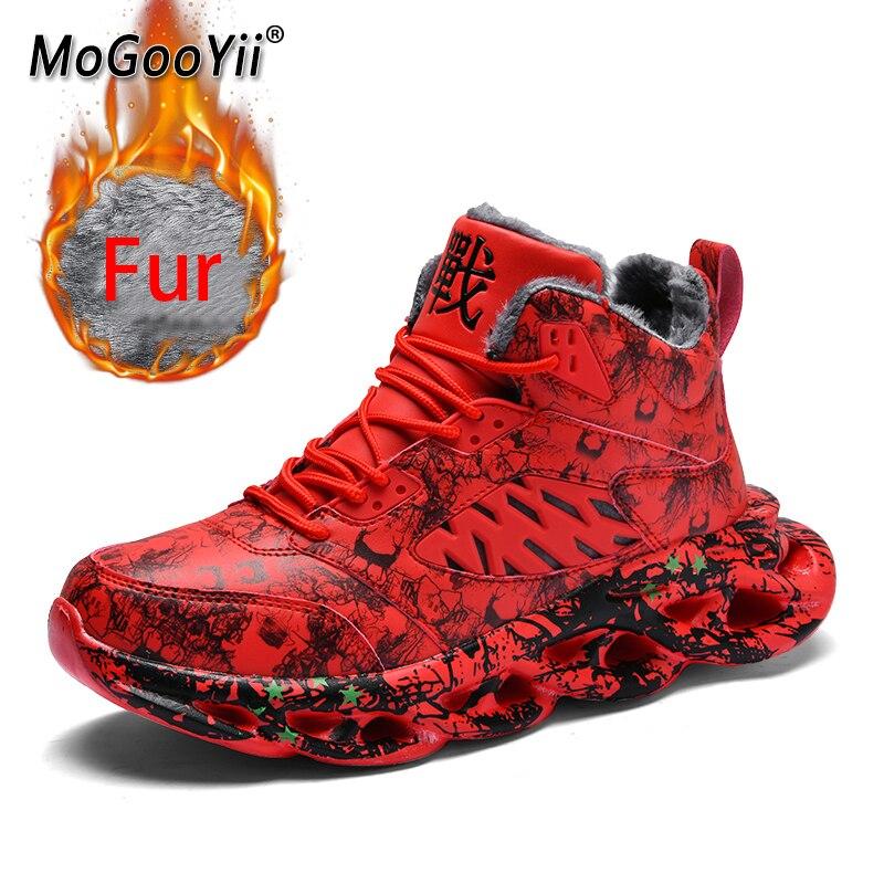 Hiver hommes chaussures décontractées chaud Sneaker imperméable à l'eau à l'intérieur court en peluche léger résistant à l'usure chaussures de marche fourrure Plus 48