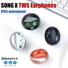 Song x tws fones de ouvido sem fio bluetooth fones de ouvido esportivos fone de ouvido de rotação com fone de ouvido de microfone para iphone xiaomi samsung todos os telefones
