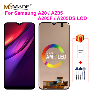 Super AMOLED For Samsung Galaxy A20 A205 SM-A205F LCD Display Screen Digitizer replacement For A205FN A205GN A205S A205 Display(China)