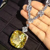 Luxury AAAAA+ Big Yellow Zircon Sparkling CZ Pendant Necklace Top quality 925 Sterling Silver Wedding Engagement party jewelry