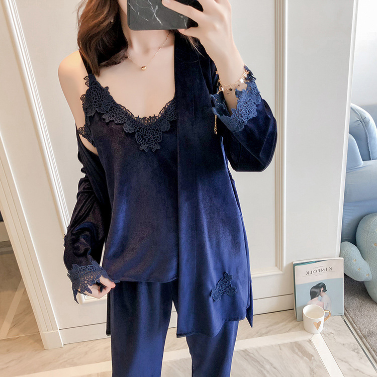 3PCS Female Velvet Pajamas Set Autumn Velour Robe Gown Nightwear Casual Home Wear Sleepwear Sexy Lace Lounge Pyjamas Suit M-XL
