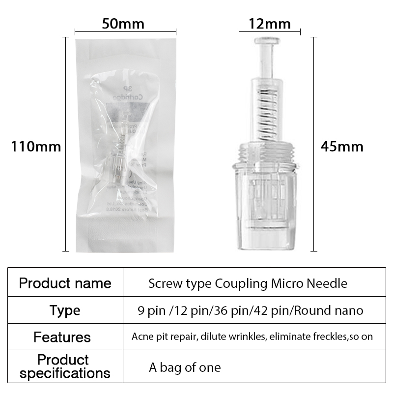 50pcs Screw Cartridge Replacement Derma Pen Needle Stamp Electric Auto Microneedle 9 Pin / 12 Pin / 36 Pin Nutrition Import Tool