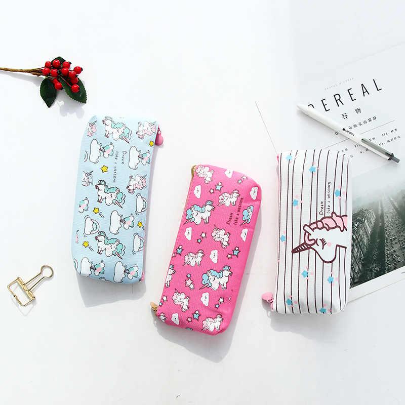 Kawaii unicórnio lápis sacos grande lona lápis casos bonito caixa de lápis caneta caso para meninas coreano artigos de papelaria escritório escola suprimentos