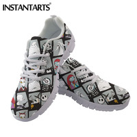 INSTANTARTS The Nightmare Before Christmas Pattern Woman Flats Shoes Jack Skellington Design Sneakers Women Light Ladies Shoes