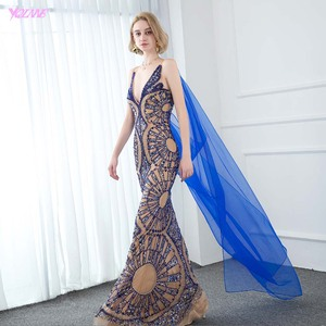 Image 3 - YQLNNE Couture Luxury Blue Crystals Evening Dress Sexy V Neck Nude Lining Evening Gowns Sleeveless Mermaid Dresses With Shawl