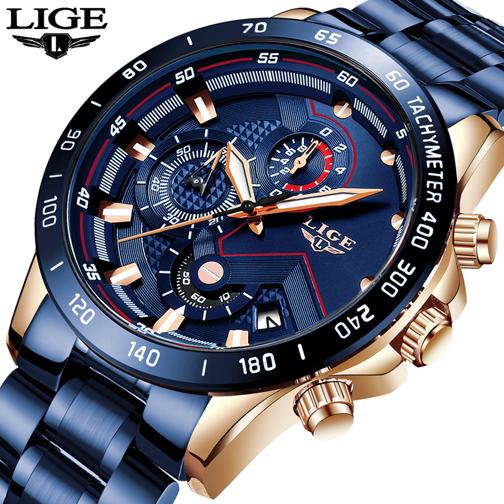 LIGE Mens Watches Sports Chronograph Stainless-Steel Top-Brand New-Fashion Luxury Relogio