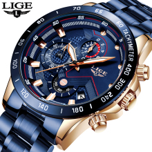 LIGE Mens Watches Chronograph Stainless-Steel Sports Top-Brand Relogio Masculino New-Fashion