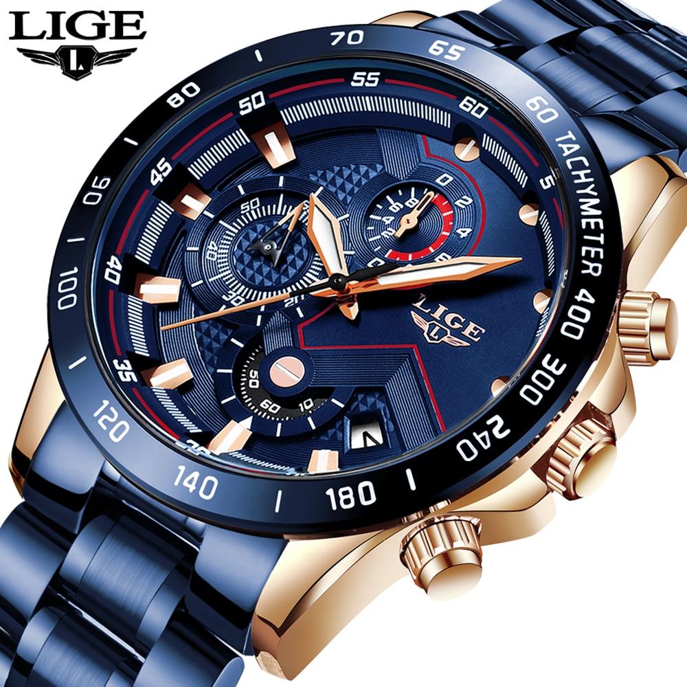LIGE 2020 новые модные мужские часы с нержавеющей сталью Топ бренд класса люкс спортивные кварцевые часы с хронографом мужские часы|Кварцевые часы| | - AliExpress