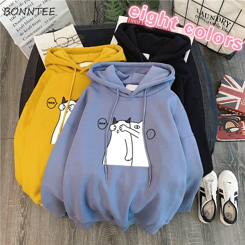 Hoodies Women Loose Printed Sweet Velvet Pocket Streetwear Kawaii Students Korean Style Ulzzang Fashion Warm Sweatshirts Simple