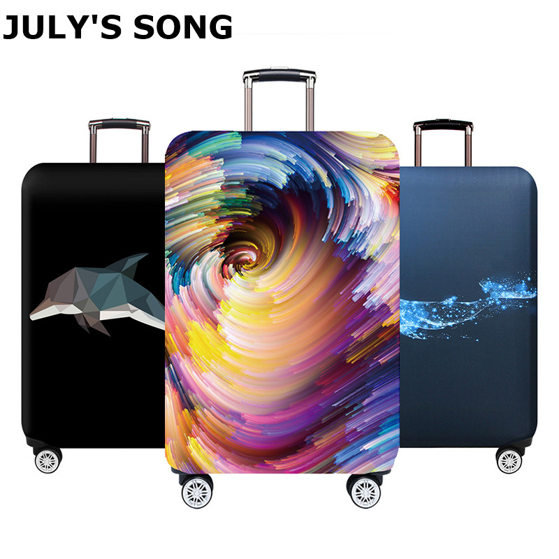 JULY'S SONG Travel Suitcase Protective Cover For 18''-32'' Luggage Case Travel Accessories Elastic Luggage Dust Cover