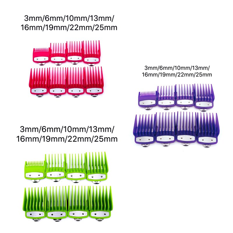 2/8/10PCS Rose Red Limit Comb Barber Shop Styling Guide Comb Hair Trimmer Kit,Purple,Green
