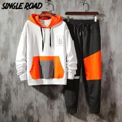 Мужской спортивный костюм SingleRoad, спортивный костюм в стиле хип-хоп из двух предметов