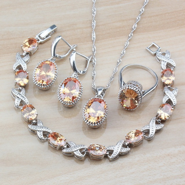 Red Rhodolite Oval Bridal Jewelry Sets