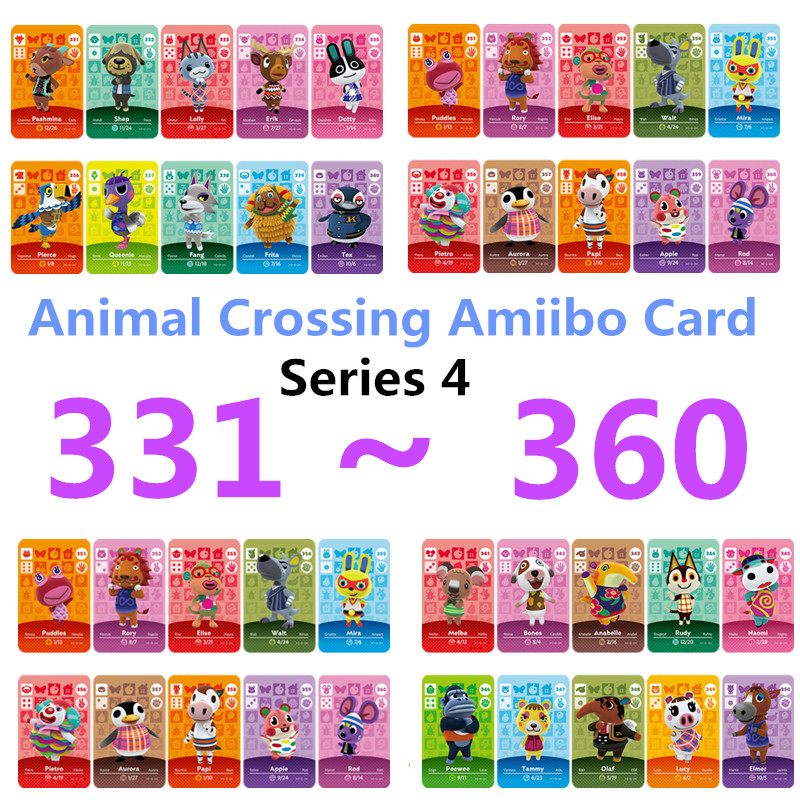Animal Series 4(331TO 360) Crossing Card Amiibo Card Work For NS Games Switch Rosie Welcome Stickers Amibo Ankha NFC