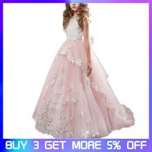 Girls Dress Princess Wedding Lace Handmade Flower Net Yarn Show Birthday Tutu Dresses Ball Gown for Teenage