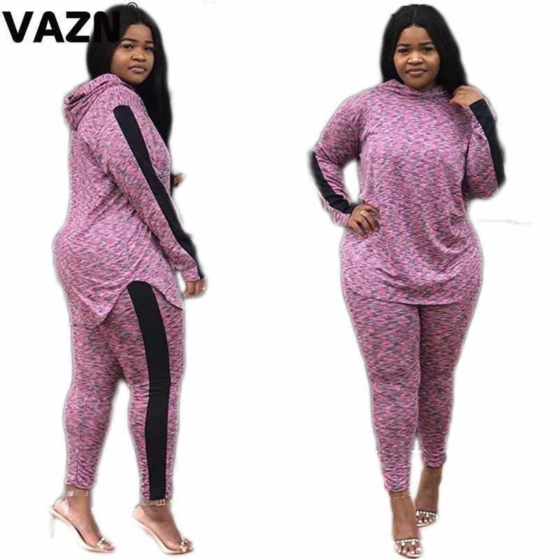 VAZN 新フードセクシーなパーティースタイル 2019 シースルー 2 ピースフルスリーブボディスーツツーピースロング鉛筆のズボン女性 2 個セット