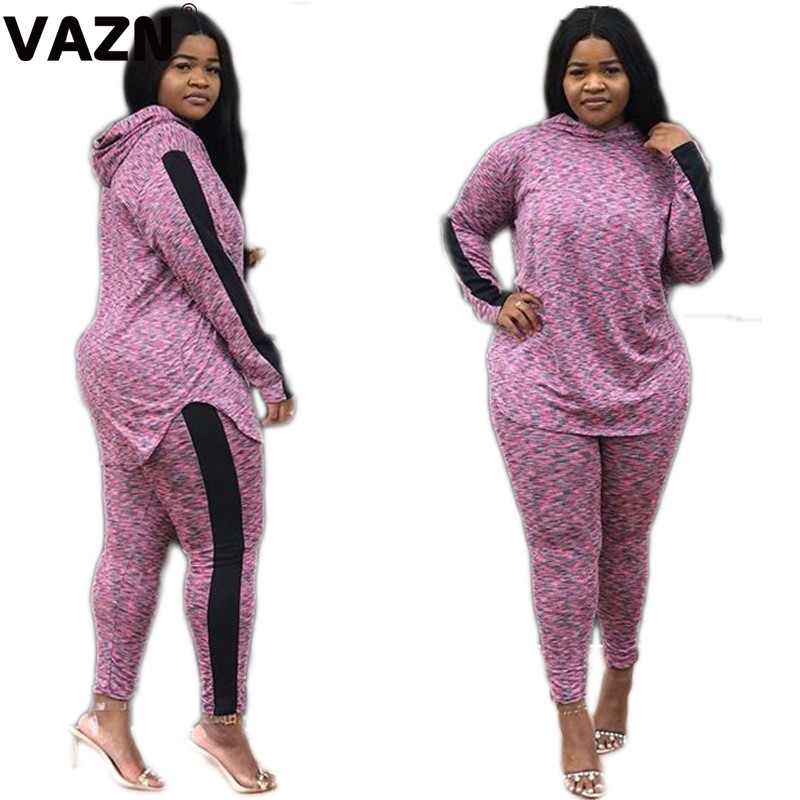 VAZN MJ1027 New Hood Sexy Party Style See 2019 Through 2Piece Full Sleeve Bodysuits Two Piece Long Pencil Pants Lady 2 Piece Set