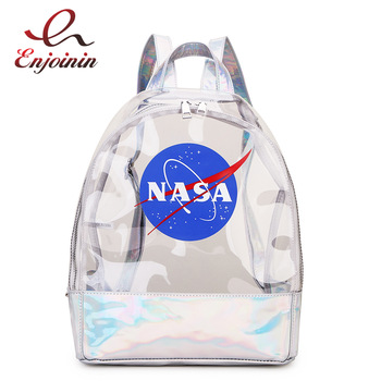 Fashion Transparent Letter Laser PVC Backpack Travel Bag Shoulder PU Leather Holographic School Bags for Teenage Girls