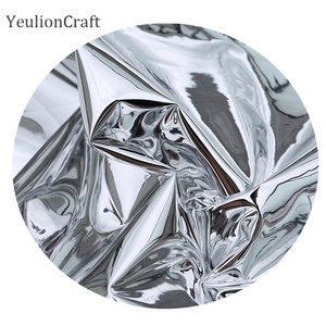 Image 3 - Chzimade 50x137cm prata reflexivo espelho pano roupas à prova dwaterproof água vestuário criativo dupla face espelho de prata tpu tecido