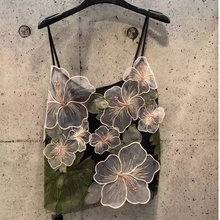 Runway Fashion Tops Summer High Quality Luxury Wings Designer Camis Tanks Elegant Sexy Flower Mesh Seamless Crop Top Female(China)