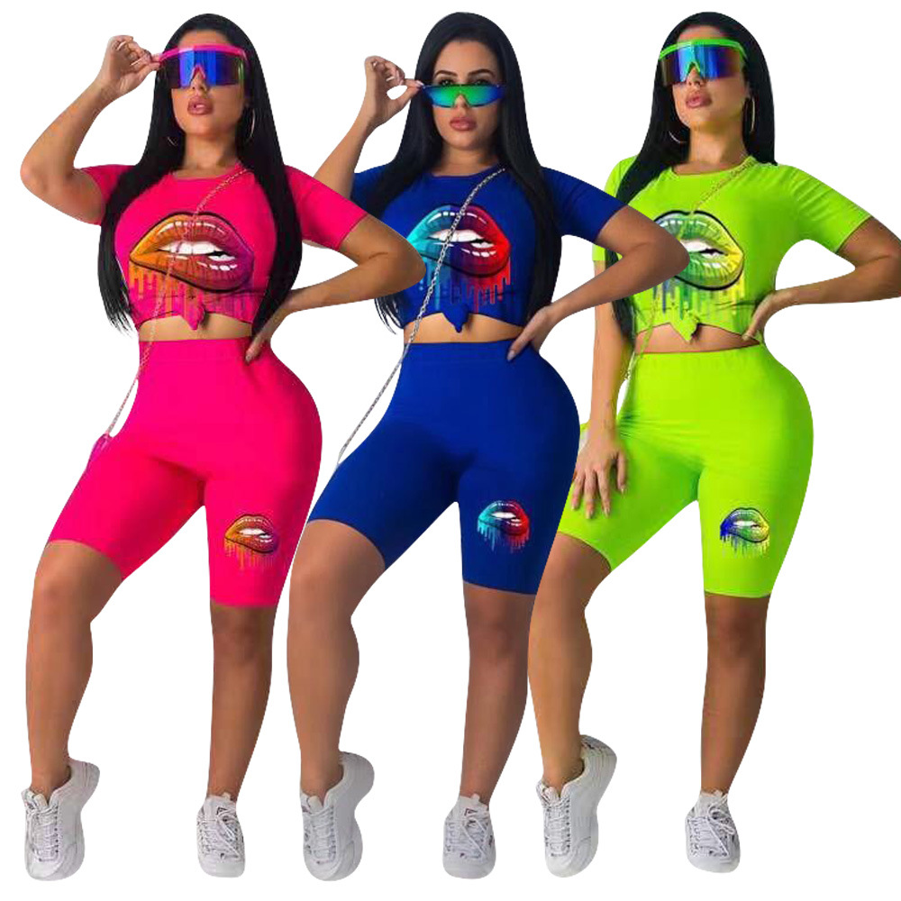 ZOOEFFBB Neon Green Lips Print Two Piece Set Tracksuit Tops And Shorts Matching Suit Casual Festival 2 Piece Outfits For Women