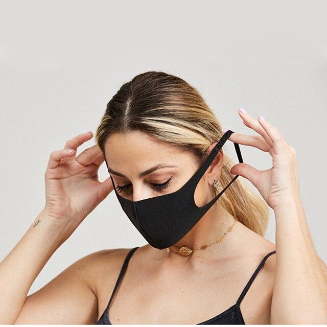 1pcs Anti Flu Mouth Mask 3D Fashion Black Color Reusable Washable Dust Proof Soft Face Respirator Breathable Masks 4